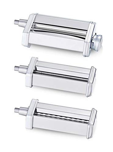 KitchenWin Pasta Maker Attachment Set for Any KitchenAid Stand Mixer, including Pasta Sheet Roller , Spaghetti Cutter, Fettuccine Cutter Accessories and Cleaning Brush