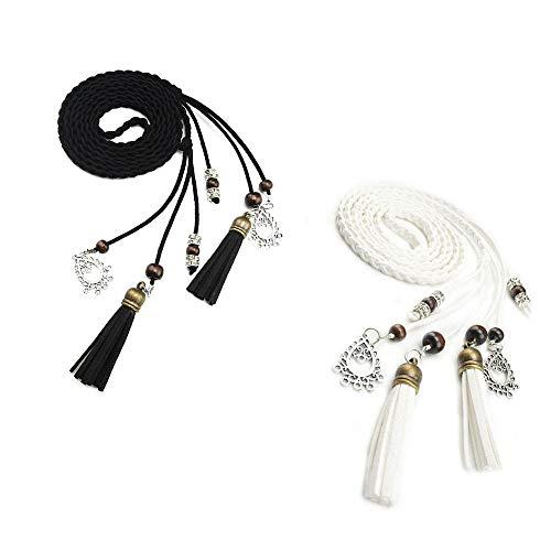 TY belt Exotische Damen Mädchen Gürtel Bauchkette mit Quaste und Holzperlen (schwarz weiß)