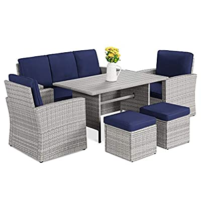 Best Choice Products 7-Seater Conversation Wicker Sofa Dining Table, Outdoor Patio Furniture Set w/Modular 6 Pieces, Cushions, Protective Cover Included - Gray/Navy