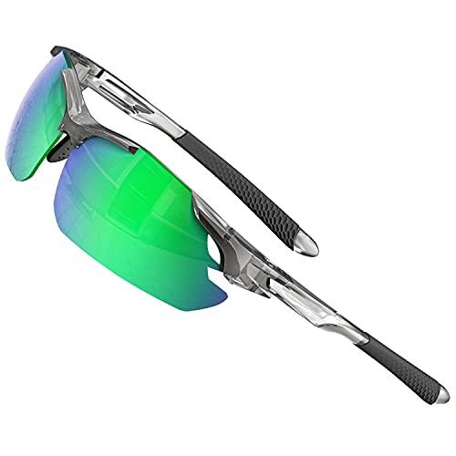ATTCL Gafas de sol para hombre - Gafas de sol polarizadas deportivas mejoradas para mujer, ciclismo, conducción, pesca, protección UV, verde (Transparente+Verde Espejo), Medium