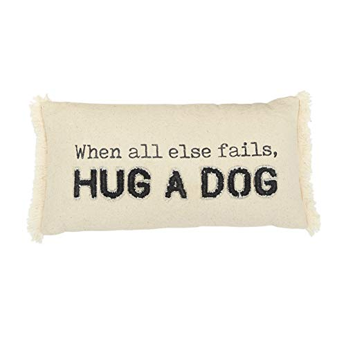Mud Pie Washed Canvas Pillow, Hug A Dog