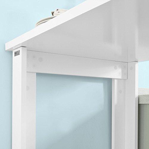 SoBuy® Bartisch, Beistelltisch, Stehtisch, Küchentheke, Küchenbartisch mit 3 Regalfächern, Tresen, weiß - 9