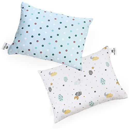 NATURECA 2er Set Kleinkindkissen mit Kissenbezug , Kinder Kopfkissen aus silikonisierter Polyesterhohlfaser, Kissen für Kinder - waschbar, Babykissen mit Baumwolle Kissenbezug von 18 Monat