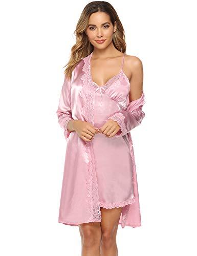 iClosam Batas y Kimonos Mujer Satén Encaje 2 Piezas,Camisón Satén Sexy Elegante Pijama Cortos para Mujer Novia Dama de Honor (XL, Rosa)