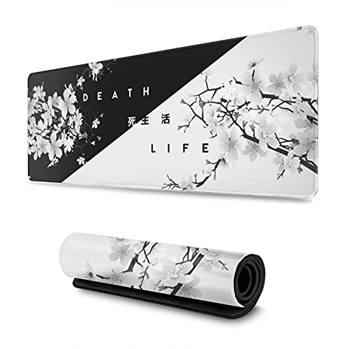 Gaming Mouse Pad Black and White Cherry Blossom XXL XL Large Mouse Pad Mat Long Extended Mousepad Desk Pad Non-Slip Rubber Mice Pads Stitched Edges (31.5x11.8x0.12 Inch)