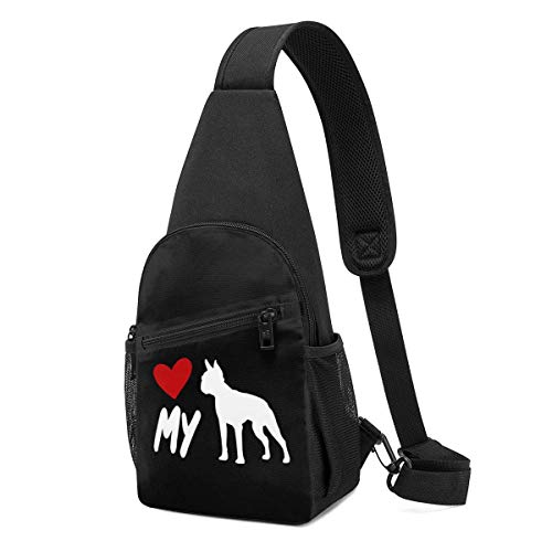 AOOEDM I Love My Boston Terrier Chest Bag Durable Sling Casual Daypack,Lightweight Waterproof Chest Bag Schoolbag for Men Women Boys