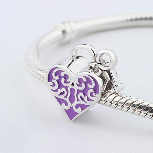 jiao Vintage 925 Plata Real líneas clásicas corazón Llave Encanto Ajuste Pulsera Brazalete clásico Esmalte púrpura Abalorios para Hacer Joyas