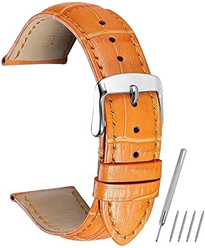 QZMX Correa de reloj Correas de reloj Correa de cuero de vaca para 14 16 18 19 20 21 22 24 mm Correa de reloj (color: naranja, tamaño: 18 mm)