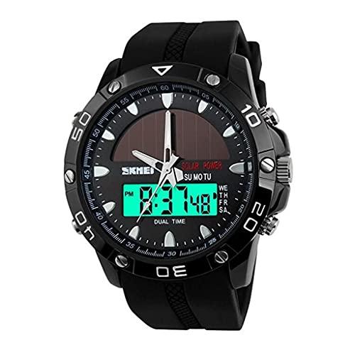 Cakunmik Reloj Deportivo De Reloj Digital LED para Hombres, Reloj Solar Impermeable, Reloj De Personalidad Masculino De Estudiante Electrónico Al Aire Libre