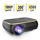 HOLLYWTOP Professional M8 Native 1080P Full HD LED Projector, 6500 Lux HDMI Projector with 300' Display Compatible TV Stick, HDMI, VGA, USB, Laptop