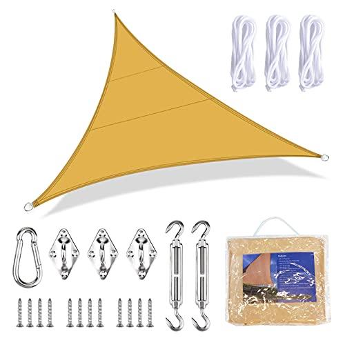 Vela de Sombra Triangular 4x4x4 Toldo Vela Triangular Impermeable Toldos Jardín Protección Solar Rayos UV para Jardín Patio Terraza Balcón Exteriores Accesorios de Montaje Todo Incluído (Amarillo)