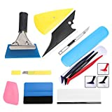 GISSVOGEEK Auto Vinyl Wrap Tool Kit, Car Window Film Tinting Installation Tools with 3 Mini Squeegees, Felt Squeegee, Vinyl Squeegee, Utility Knife and Blades