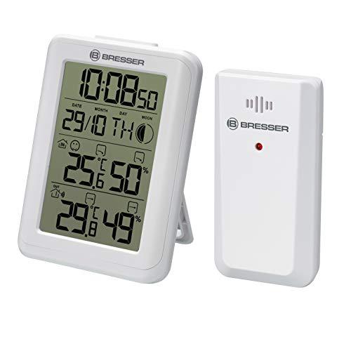 Bresser Thermometer Hygrometer MyClimate mit Zeit-/Datumsanzeige, Mondphasen und Weckfunktion zum Hängen oder Aufstellen, Weiß