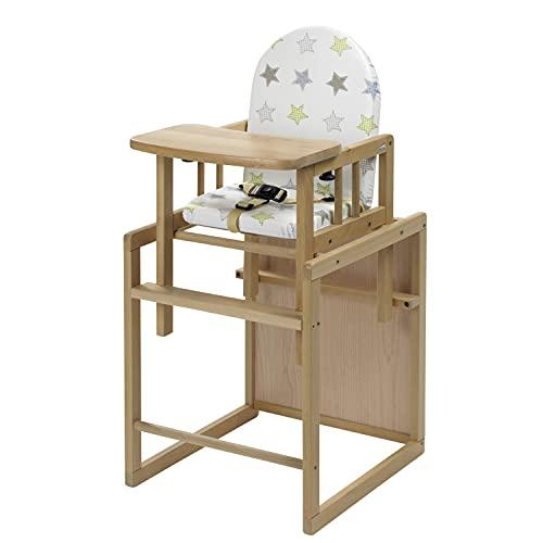 Geuther Hochstuhl NICO, Kinderstuhl (Baby Hochstuhl mit Tisch, Babystuhl mit 3-Punkt Sicherheitsgurt, Rückenteil, Fußtrittbrett & gepolsterte Sitzfläche, schadstofffreies Kinderzimmerzubehör), Natur