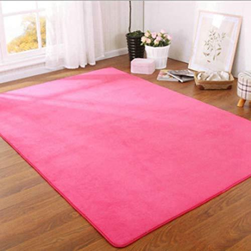 Alfombra de terciopelo coral grueso de color sólido moderna para sala de estar, dormitorio, mesita de noche, tapete tatami para gatear decoración del hogar, 140 x 200 cm, color rosa rojo