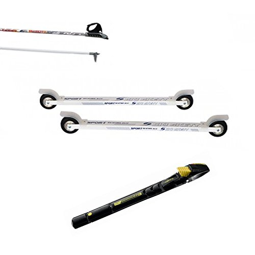 Ski Skett Série Ski Roue, Ski Roue Sport Skate ALU PL, Fixations Salomon Profil SK, bâtons pour Ski Roue Long. 165 cm.