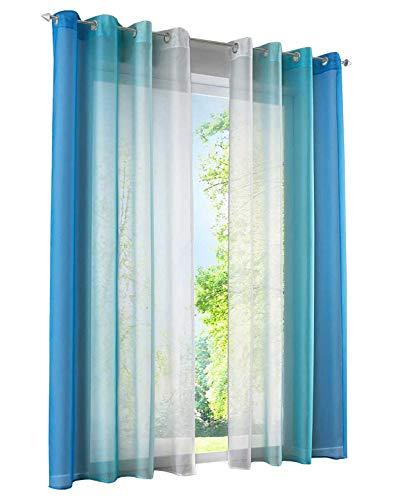 BAILEY JO 2er-Pack Gardinen mit Verlauf-Farben Muster Vorhang Transparent Voile Vorhänge (BxH 140x245cm, Blau mit Ösen)