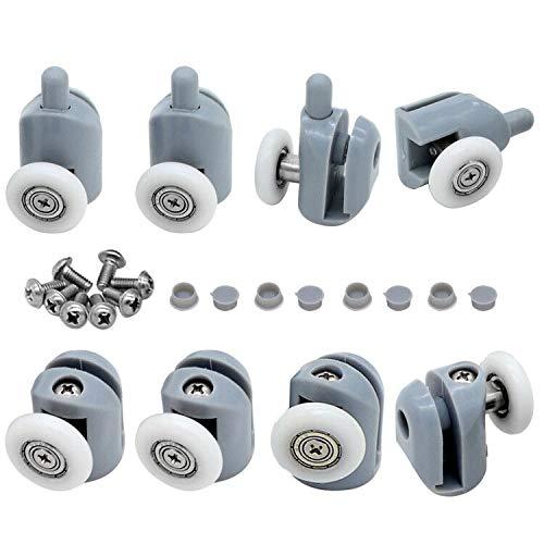 cococity 8 piezas de rodillos para puerta de ducha/corredores/ruedas/poleas/guías de 23 mm de diámetro, piezas de repuesto para raíles de mampara de ducha