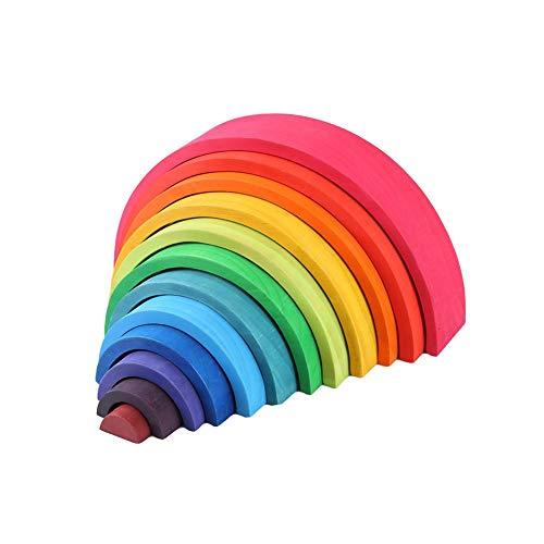 Dough.Q 12 Piezas Arco Iris Apilable Madera, Juego Aprendizaje Juguete Geometría Bloques de construcción Juguetes educativos para niños bebé
