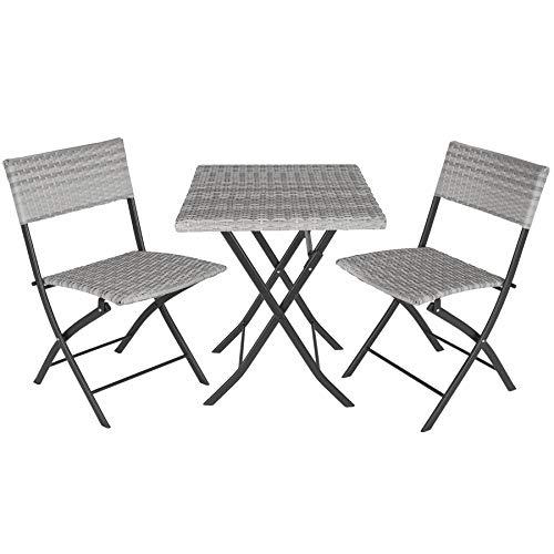TecTake 800700 Conjunto de Ratán, 2 Sillas 1 Mesa, Plegable y Compacto, Protección UV, Ideal para Jardín Exterior Interior (Gris Claro | No. 403714)