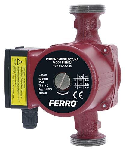 Ferro Umwälzpumpe Trinkwasserpumpe 25-60/180 mit Dichtungen, Kreiselpumpe, W0202