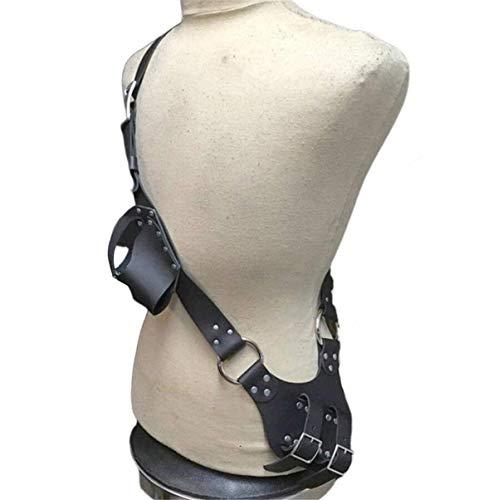 JING Cinturón De Espada Medieval, Funda De Cintura Ajustable Funda De Rana con Hebilla De Cuero PU Funda De Correa, Cinturón De Espada De Caballero Daga De Rana Bolsa De Espada para Hombre,Negro