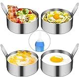 YAOYIN 4 PZ 9cm Anello di uovo, per Cuocere Uova Fritte, Pancake, Omelette e Molto Altro Ancora, Antiaderenti(Pennello per Oliare Incluso)