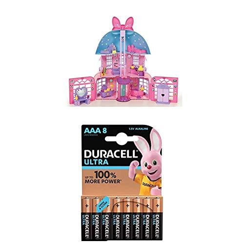 Lot IMC Toys Mouse - Disney - Maison de Minnie - 182592 + Duracell Ultra Power Piles Alcalines Type AAA, 8 Piles