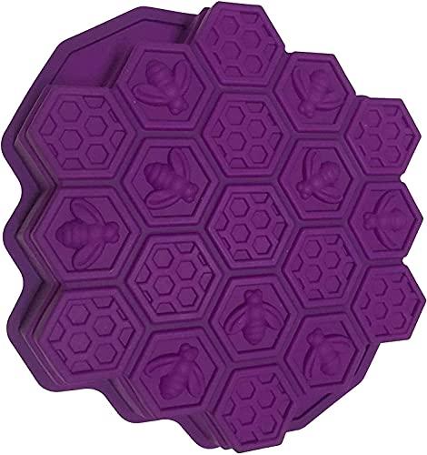 HXYA Moldes flexibles para pasteles de panal de abeja de 19 cavidades para niños de silicona para hornear torta de chocolate (morado)