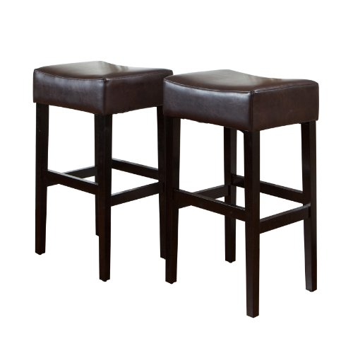 Best Selling Classic Brown Leather Backless Barstool, 2-Pack