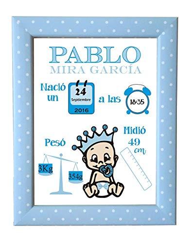 Kembilove Lámina de Nacimiento Personalizada con los datos del Bebe - Regalo Original Recién Nacido - Para Niño, Nene, Chico - Incluye: Lámina + Marco