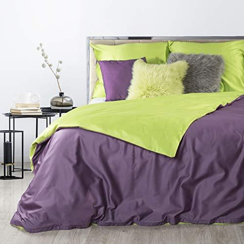 Eurofirany Beddengoed Eenvoudig dubbelzijdig violet groen dekbedovertrek Makosatijn katoen Oeko-Tex set 2 kussenslopen 1…