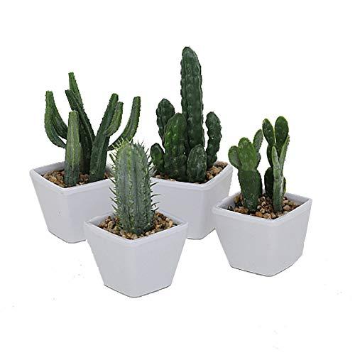 LB H&F 4er Set künstliche Pflanzen Kaktus Kunstpflanze Kakteen als Dekopflanze mit Topf Deko