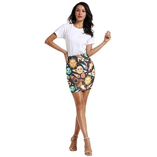 FANTAZIO hemelse Sun Space Objects patroon vrouwen boven de knie elastische taille stretch Bodycon rok