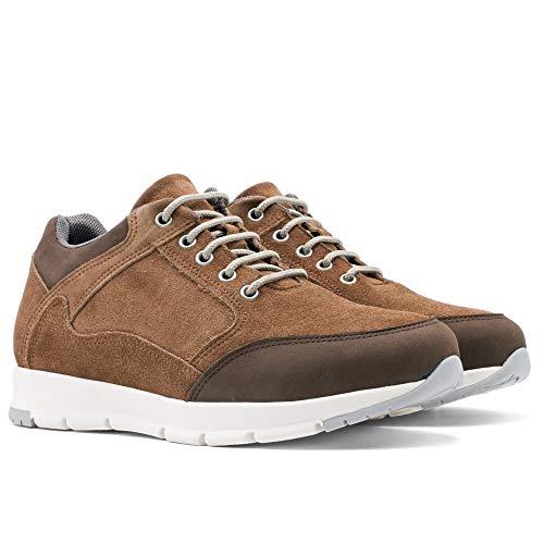 Herrskor med osynliga skoinlägg för extra längd. Bli 7 cm längre. Modell Berna brun 44