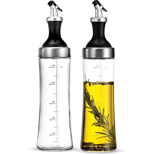 Superior Glass Oil and Vinegar Dispenser set of 2 Modern Olive Oil Dispenser Wide Opening for Easy Refill and Cleaning Clear Glass Oil Bottle Pouring Spouts 18 Oz Cruet Set Set of 2