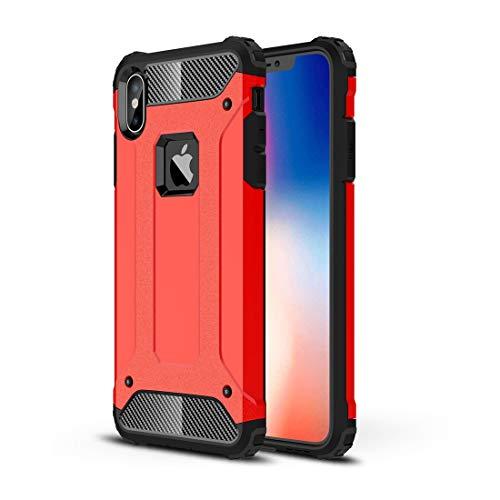 DESCHE Funda iPhone XS 5.8' Hard PC Soft TPU 2 en 1 360° Funda Resistente a los arañazos a Prueba de Golpes Funda Duradera para teléfono+Vidrio Templado Rojo