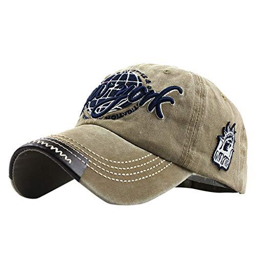 Retro Letter Embroidered Print Cotton Baseball Caps Sports Outdoor Adjustable for Men Women Khaki