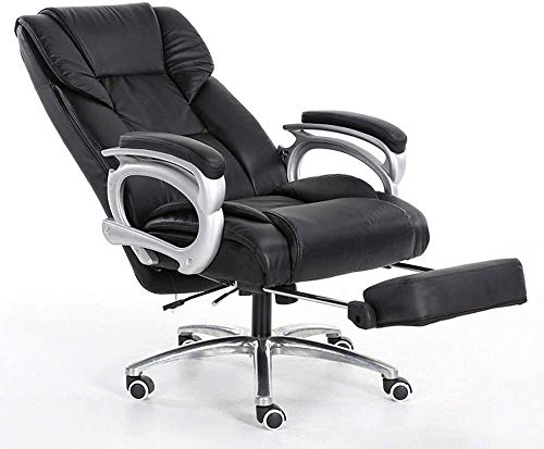 WYL Executive Chair with High Back Large Seat and Tilt Function High Elastic Sponge Cushion PU Leather Padding Desk Chair with Footrest Bearing Weight 150kg Suitable for Home Office (Color : Black)