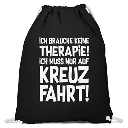 shirt-o-magic Schiffsreise: Therapie? Lieber auf Kreuzfahrt - Baumwoll Gymsac -37cm-46cm-Schwarz