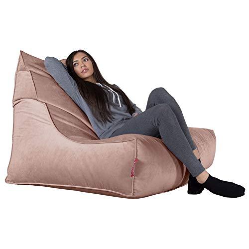 LOUNGE PUG®, Mega-stoel Zitzak, Grote Fauteuil Poef, Fluweel Roze