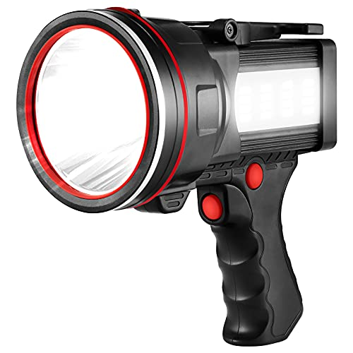 Super Bright LED Spotlight Rechargeable Flashlight 7800 Lumen Handheld Spotlight 12800mAh Long Lasting Torchlight Searchlight Flood Fishing Hiking Camping Flashlight USB Output with Tripod