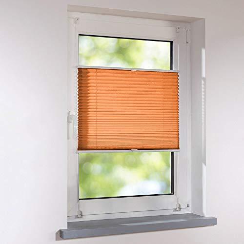 Plissee Klemmfix Faltstore UNIVERSAL Faltrollo ohne Bohren - 20 x 100 cm - orange