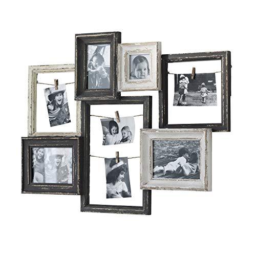 Loberon Bilderrahmen Alton, Pappelholz/Glas, H/B/T ca. 56,5/75,5/5,5 cm, schwarz/weiß