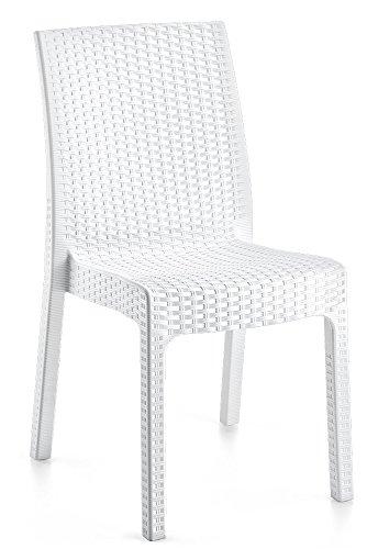 LEBER 2 x Silla Rock Resina imitación rattán Color Blanco. Apilable. Ideal para terrazas y hostele