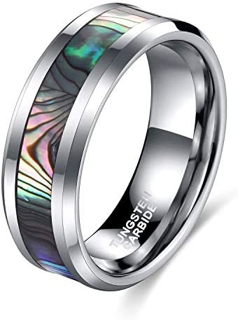 TRUMIUM 8mm Abalone Shell Tungsten Rings Comfort Fit Mother of Peal Men Women Wedding Band Size product image