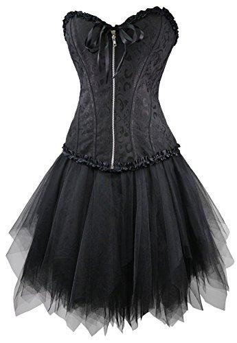 r-dessous Corsagenkleid schwarz Corsage + Mini Rock Petticoat Kleid Korsett Top Gothic Steampunk Übergrößen Groesse: M