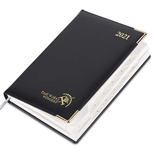 Executive Diary 2021 A5 Day to Page - Vegan Leather Hardback, Daily Planner 2021 with Monthly Tabs and A to Z Address Pages, 416 Pages with Tear-Off Corner, 21 x 14 cm, Black