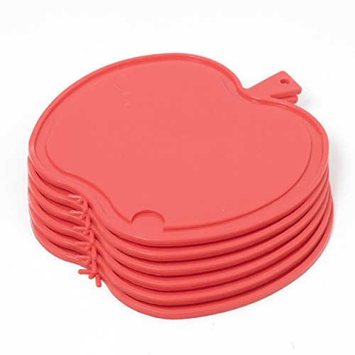 Kimpro Bable Frühstücksbrettchen 6-er Pack Küchenbrettchen Apfel (Rot)