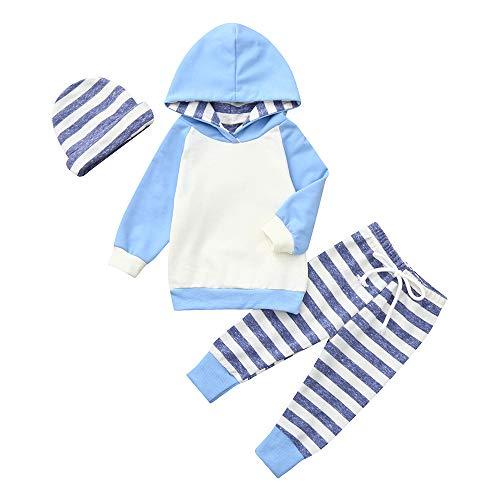 BBSMLIN Ropa Bebe Recien Nacido Niño Niña Invierno Otoño 0 a 24 Meses Deportes Sudadera con Capucha + Pantalón a Raya + Diadema